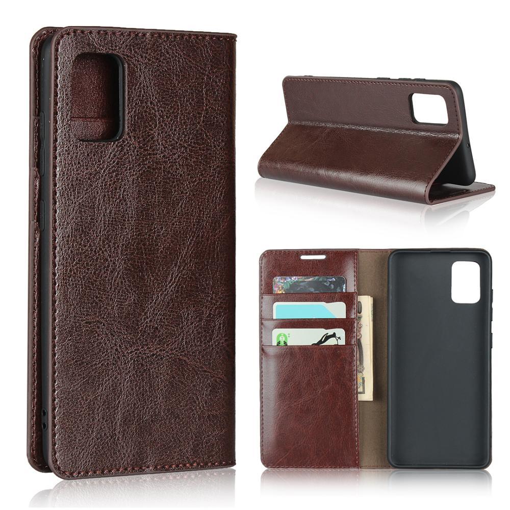 Natural couro genuíno pele flip carteira livro telefone capa para samsung galaxy a21s a31 a51 a71 a 21s 31 51 71 64/128 gb