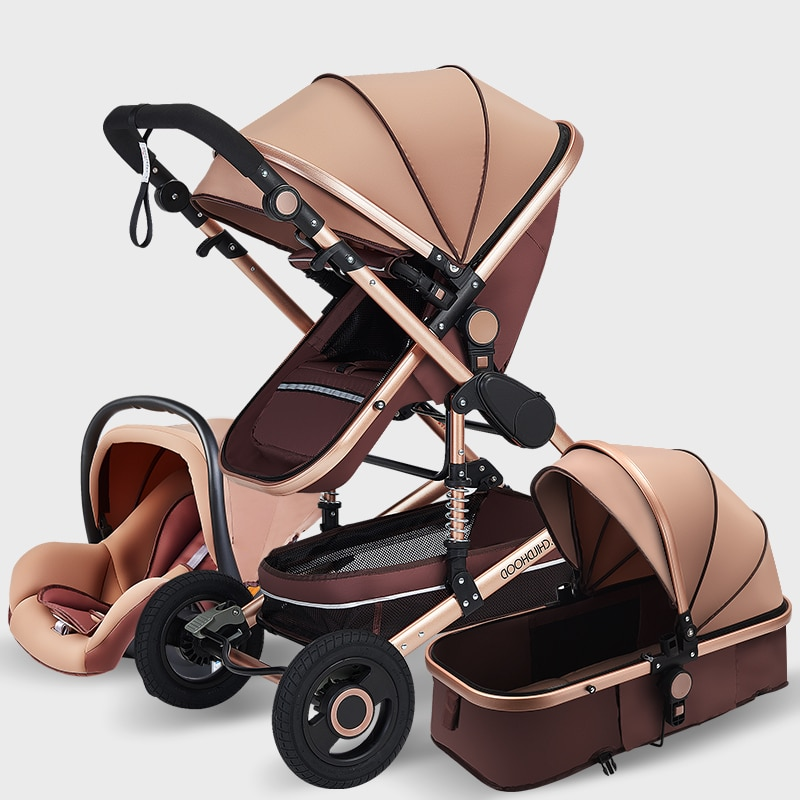Luxury Baby Stroller High Landscape Baby Stroller 3 in 1 Travel Pram Trolley Baby Carrier Carriage Stroller with Car Seat