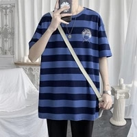 oversized fashion striped harajuku summer loose t shirt hot sale short sleeve youth hip hop clothes 2021 casual high street top