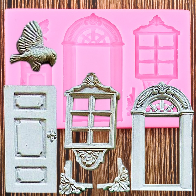Puerta ventana Borde de silicona para tartas molde pájaros Fondant molde torta decoración herramientas Chocolate Gumpaste moldes de caramelo de arcilla