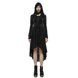 PUNK RAVE Women Gothic Dark Witch Cardigan with Hood Dress Dark-printed Woven Fabric Slim Party Stage Performance Costume