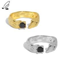 S'STEEL 925 Sterling Silver Korean Simple Designer Concave Convex Micro Zircon Texture Opening Rings
