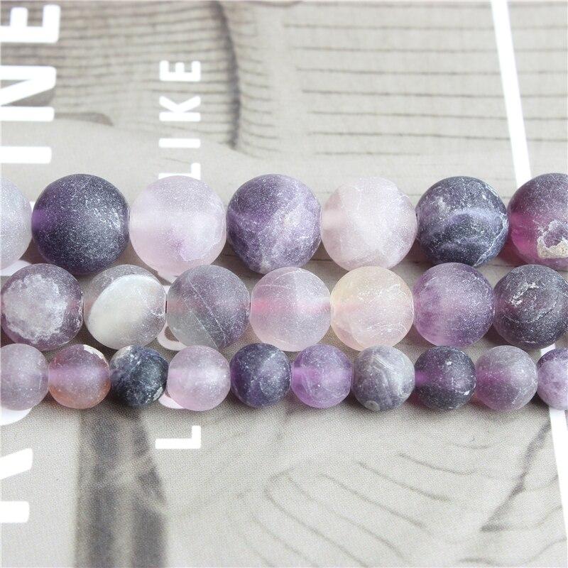 Lingxiang 4/6/8/10 мм модные натуральный ювелирные изделия из жемчуга с тусклой полировкой, Фиолетовый Флюорит свободные бусины DIY браслет ожерелье...
