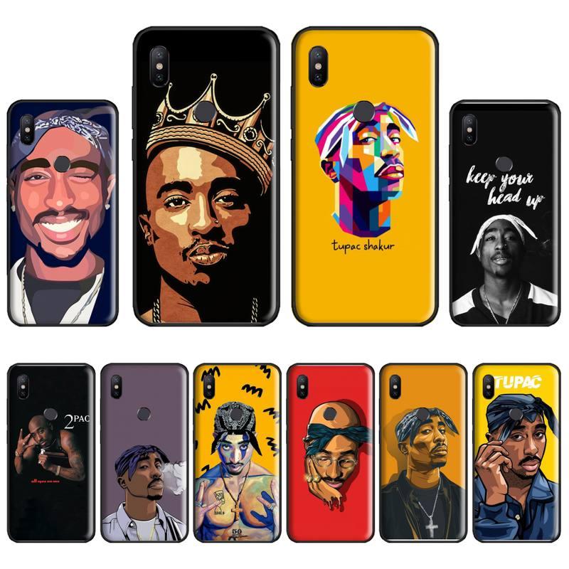 Rapper 2pac tupac bling bonito caso de telefone para xiaomi redmi nota 4 4x5 6 7 8 pro s2 plus 6a pro