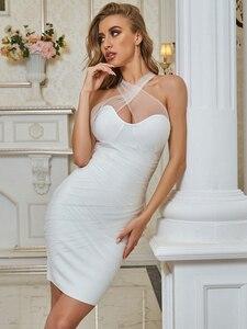 Женское сексуальное платье с перекрестными ремешками, Белое Облегающее летнее Бандажное платье 2020, дизайнерские Элегантные вечерние плать...