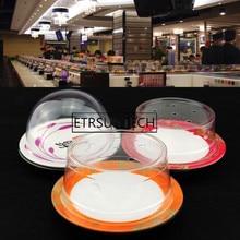 100pcs Plastic Lid For Sushi Dish Buffet Conveyor Belt Sushi Reusable Transparent Cake Dish Cover Restaurant Accessories