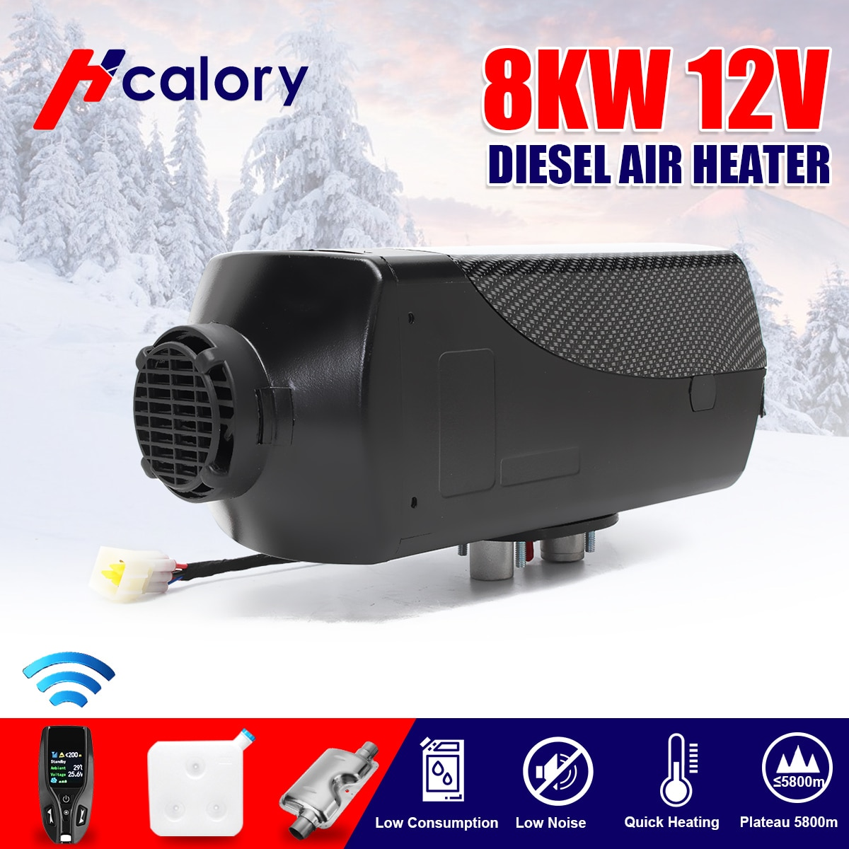 Hcalory calentador de coche 12V 12V 8000W aire calentador diesel centralitas aparcamiento calentador con Control remoto LCD Monitor para webastos Motor