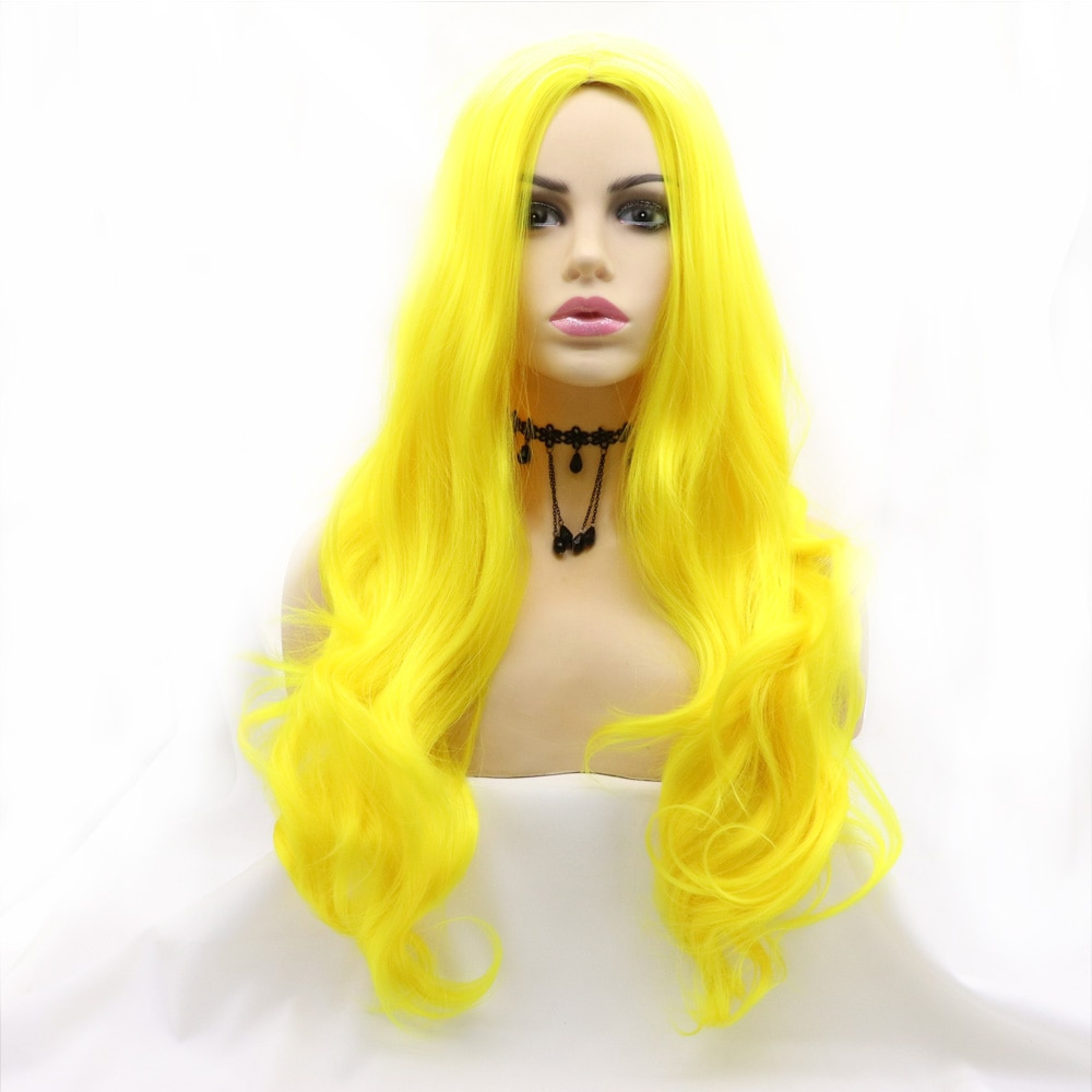 Full Machine Made Long Body Wave Candy Orrage One-time Synthetic Wig Heat Resistant Fiber Hair for Women Cosplay Makeup Party