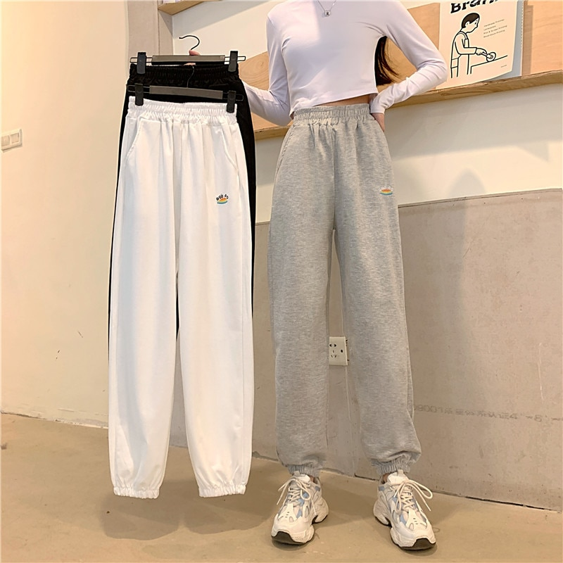Autumn Plus Size Elastic Waist Sports Pants Women Tide Waist High Waist Loose Harem Pants Trousers Women'S Clothing