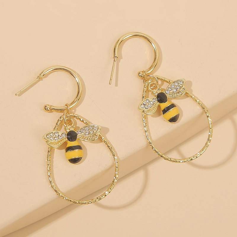 Prosta moda Rhinestone emalia Bee spadek kolczyki dla kobiet Trendy kropla wody kształt złoty Metal wiszące kolczyki biżuteria prezent