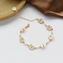 Fashion Sweet White Flowers Bracelets Personality Pearl Metal Minimalist Chrysanthemum Bracelet for