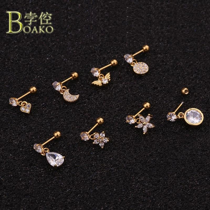 Pendientes de hueso de oreja de luna de acero inoxidable para mujeres oro plata circonita flor oreja Piercing de nariz tachuelas chica Piercing joyería del cuerpo b5