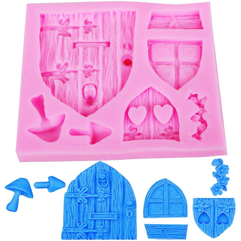 Шоколадный инструмент для выпечки Сказочный домик силиконовые формы гриб Окно Дверь помадка 3D торт шоколадная ледяная форма украшения