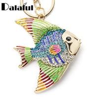 Dalaful тропический брелок Рыбка брелок многоцветный эмалированный Кристалл Золотая Рыбка брелок держатель сумка Подвеска для автомобиля K366