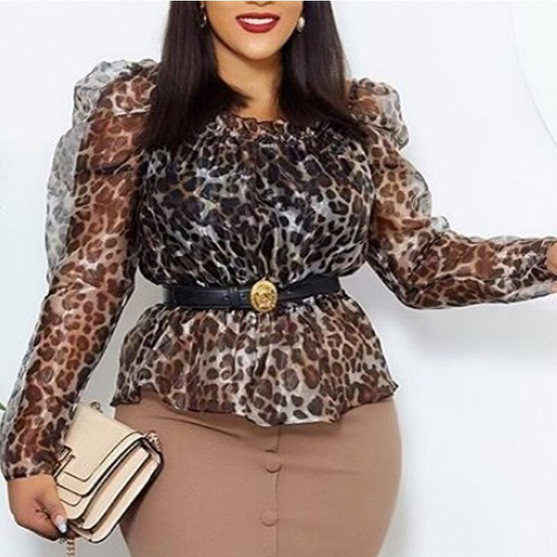 Women Transparent Leopard Blouse Tops Shirt Long Sleeve Sexy See Through Office Ladies 2021 Spring Summer New Fashion Lady Bluas