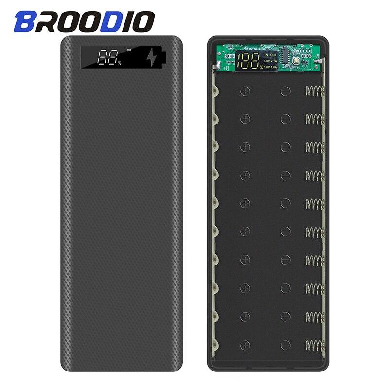 10*18650 Power Bank Fall Dual USB Mit Digital Display Bildschirm Handy Ladegerät DIY Shell 18650 batterie Halter lade Box