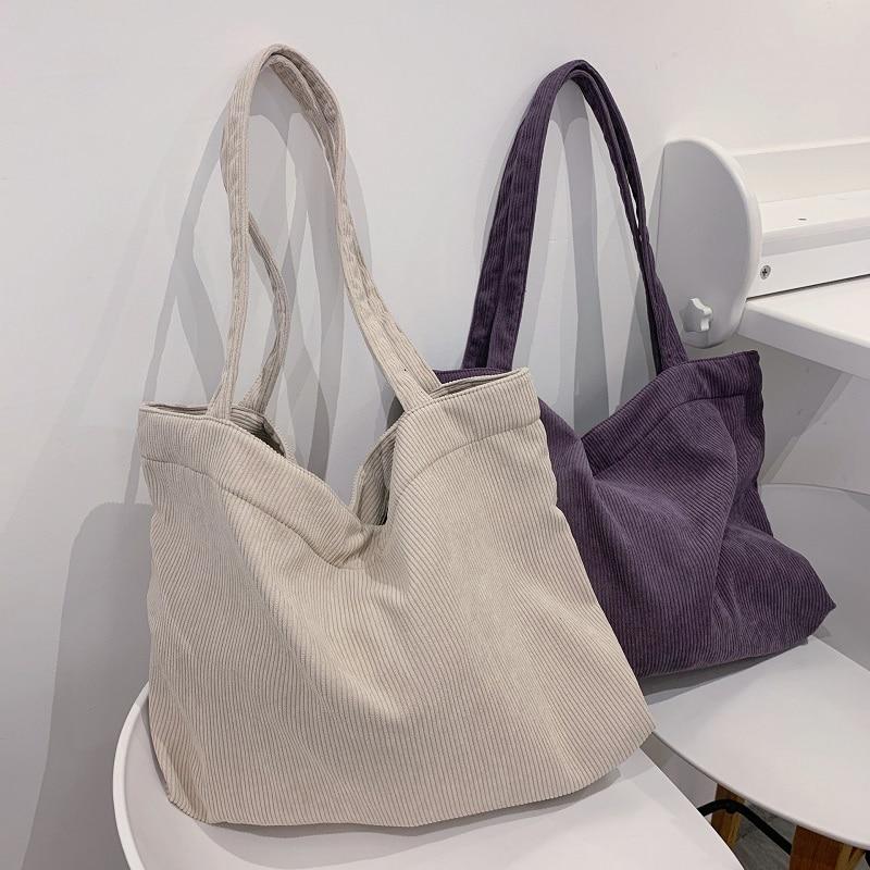 AliExpress - Corduroy Shopper Women's Bag 2021 Tote Bag Girls Handbag Female Shoulder Bags Casual Wallets Large Capacity Canvas Bag Schoolbag