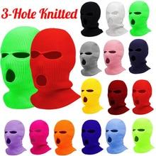 Fashion Women Ski Mask Men Winter Warm Skiing Cycling 3 Hole Windproof 3-Hole Knitted Balaclavas Hoo