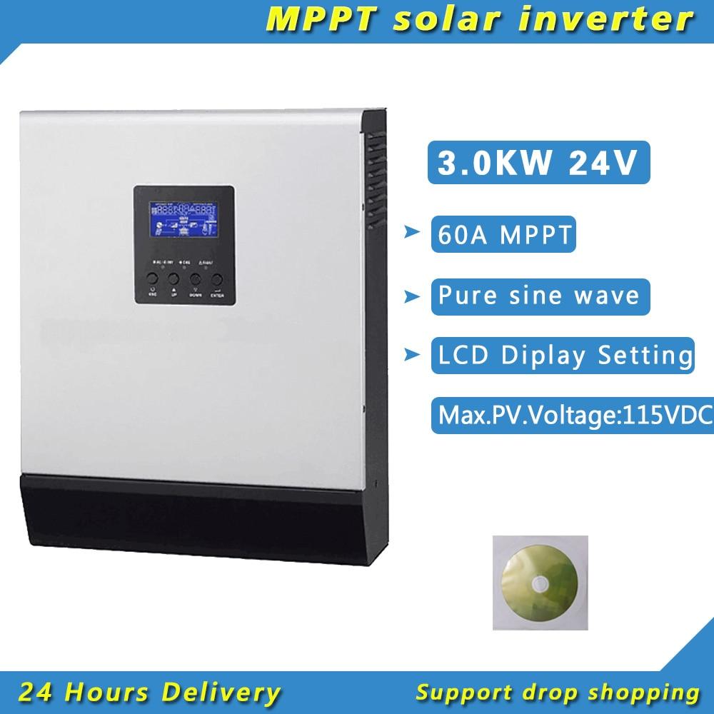3000 واط 24 فولت عاكس شمسي هجين مع MPPT 60A تحكم نقي شرط موجة شاشة الكمبيوتر PV 120-500vdc