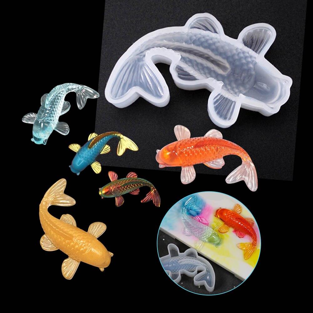 1 Uds. Koi forma de molde de silicona Animal de dibujos animados molde transparente para pasteles de chocolate hecho a mano accesorios herramientas para hornear
