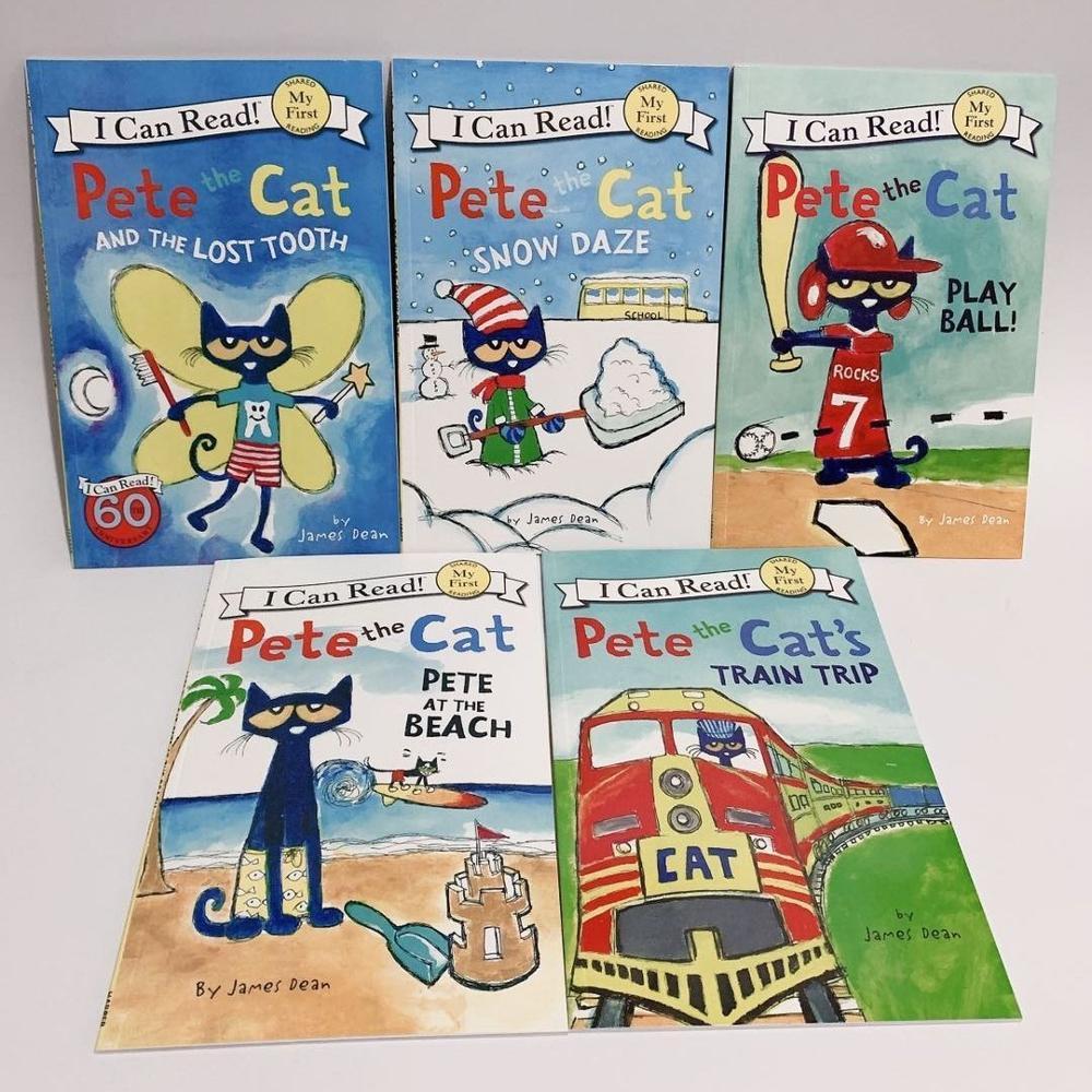 Aléatoire 5 livres 22.8X15.2cm série de Pete chat image livre enfants bébé enfants anglais éducatif lecture enfants apprendre mots contes