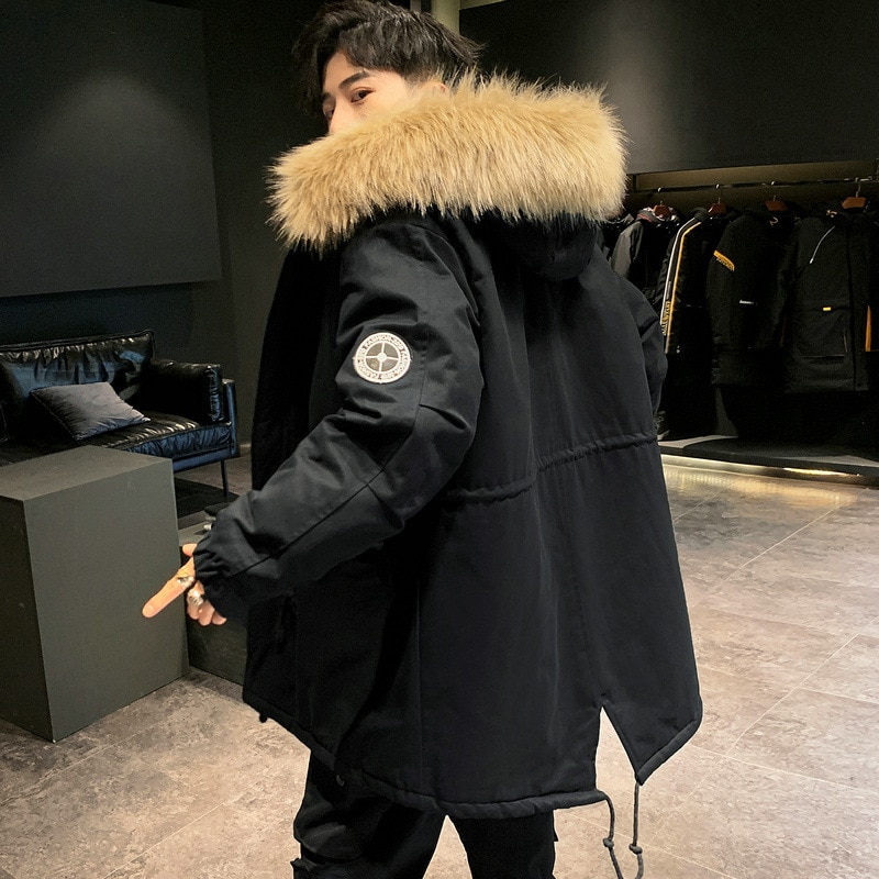 Winter 2020 new warm cotton-padded jacket fur collar  thick  jacket for men medium long  loose hooded coat