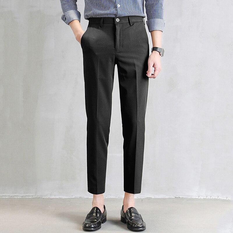 Маленькие черные брюки прямые мужские брюки стройное тело маленькие ноги Повседневное Корейская версия тренд мужские костюмные брюки