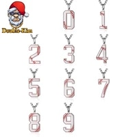 baseball digital men necklace hiphop rock street culture titanium stainless steel chain necklace fashion man jewelry gift