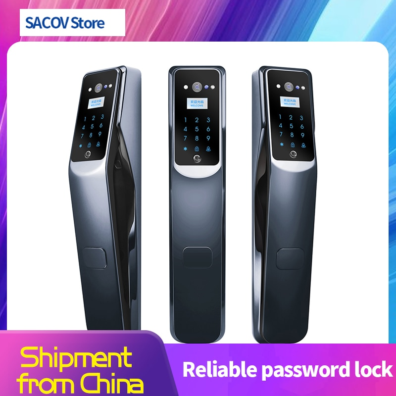 intelligent lock fingerprint code lock visual intercom anti prying household security door automatic electronic password lock