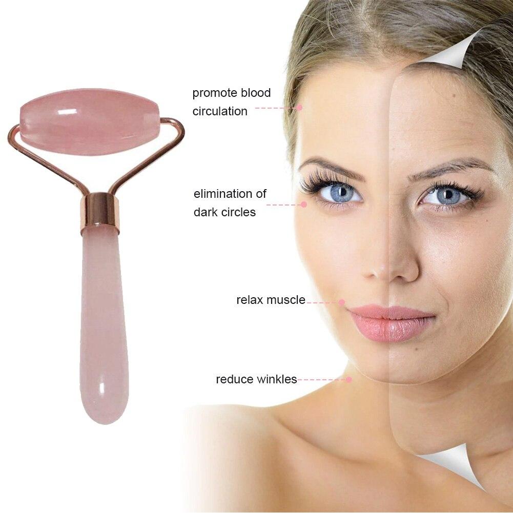 Natural Rose Quartz Jade Roller Derma Push Massage Roller Lifting Wrinkle Face Massager Gua Sha Facial Beauty Tool Pink