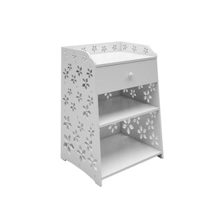 40 x 30 x 50cm Exquisite Cherry Blossom Pattern PVC Bedside Table Nightstand Side Table with Drawer White