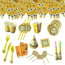 Bumble Bee Theme Party DIY Supplies Kids Birthday Party Decorations Balloon Garland Disposable Table