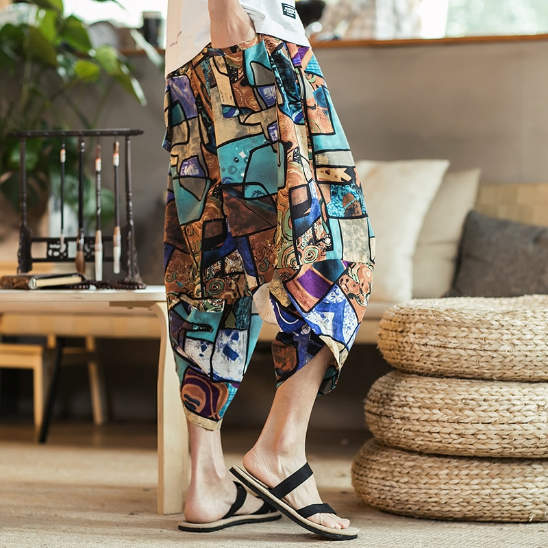 Loose Male Trouser Streetwear 2021 Men Traditional Style Summer Big Size Casual Calf-Length Pants Korean Style Cotton Printed