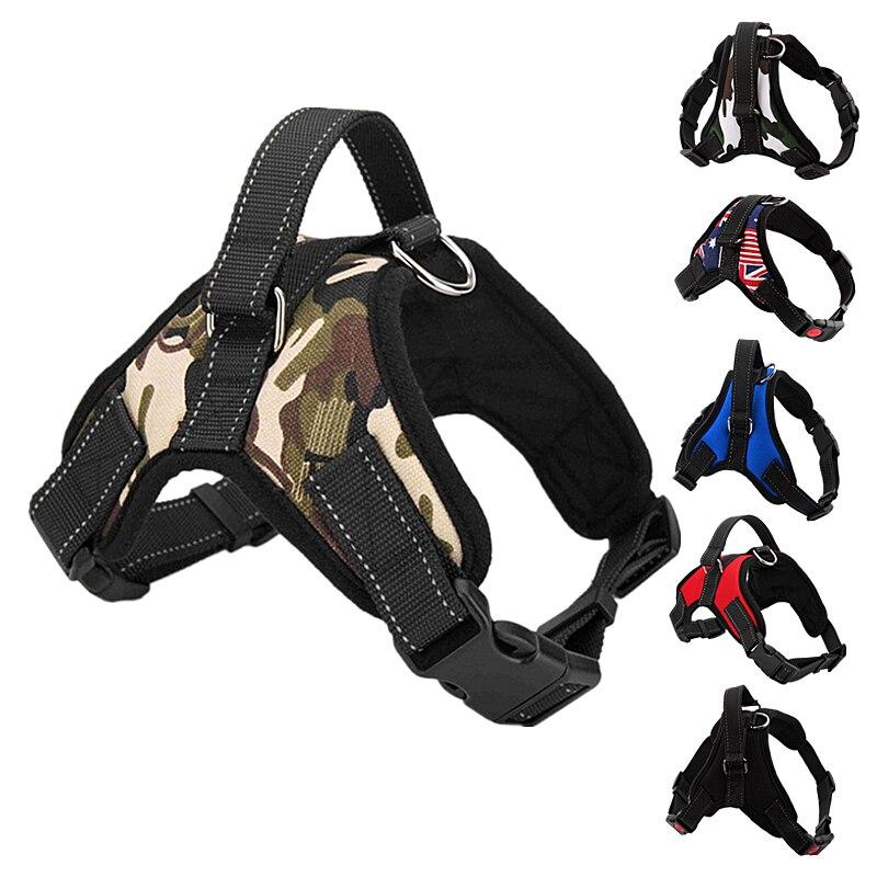 Nylon camuflaje Collar arnés para perro Extra grande Grande Mediano pequeño ajustable acolchado productos para arnés tipo chaleco para perro Husky Pitbull