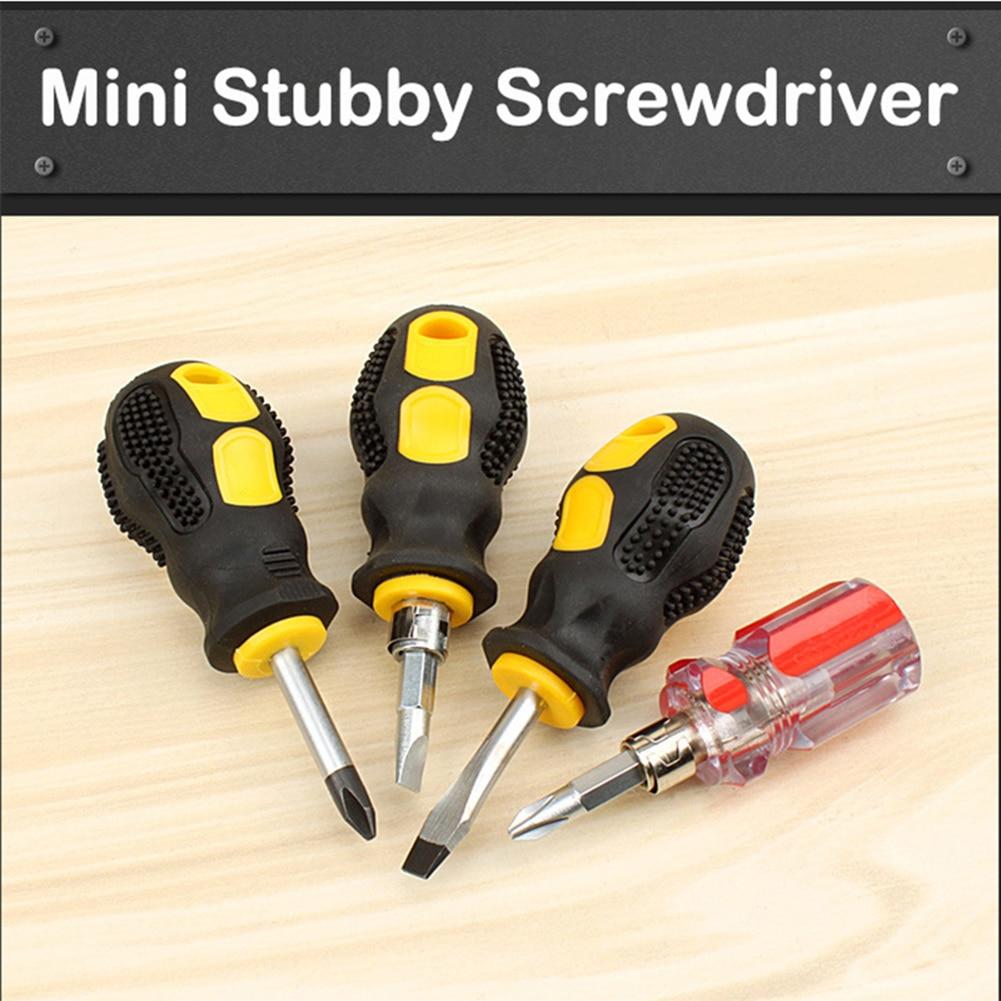 Mini destornillador grueso Pozi ranurado de cabeza plana pequeñas herramientas de mano compactas con 1 Uds 4mm destornillador varilla de extensión dura 90mm