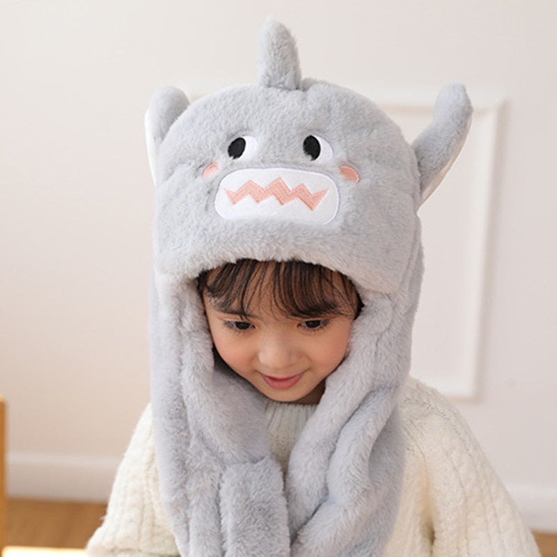 Cute Shark Hat Moving Ears Cute Cartoon Toy Hat Kawaii Funny Hat Birthday Gift Plush Cap Winter Hat