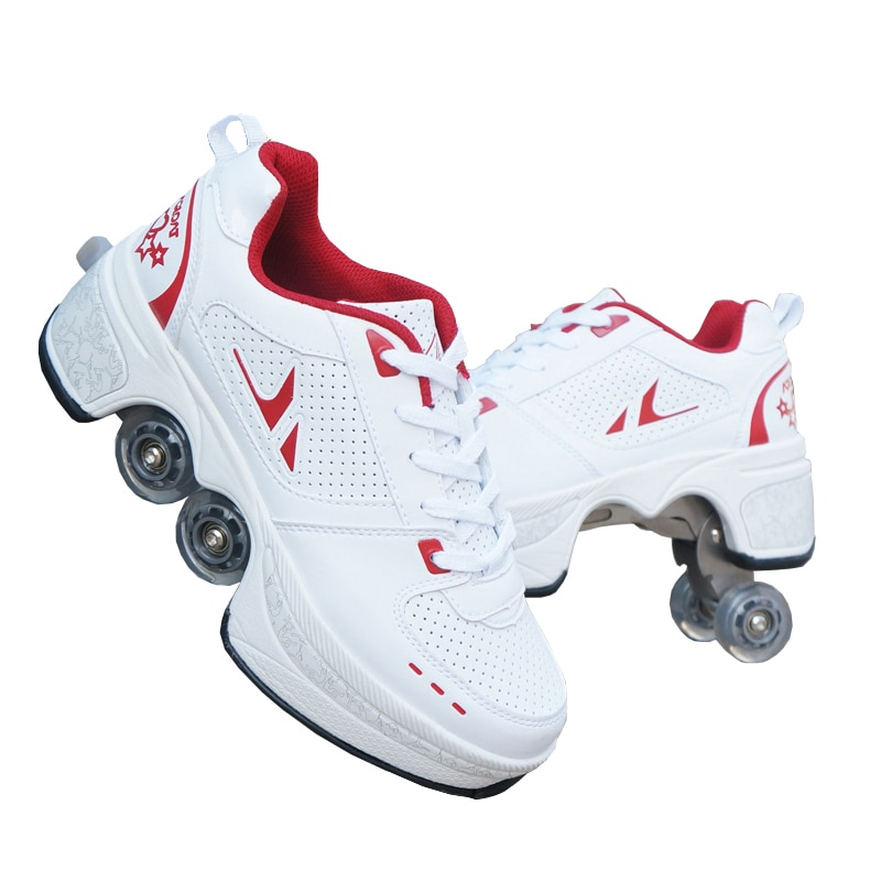 Hot Shoes Casual Sneakers Walk Roller Skates Deform Runaway Four Wheeled Skates for Adult Men Women Unisex Child