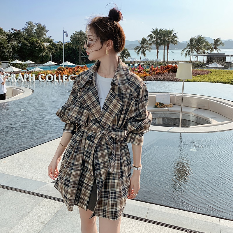 Brand New Fashion Women Short Trench Coat Plaid Double-Breasted with Belts Lady Duster Coat Spring Autumn Windbreaker Outerwear chic women s trench coat spring autumn belted short coat fashion slim fit double breasted short trench coat g092
