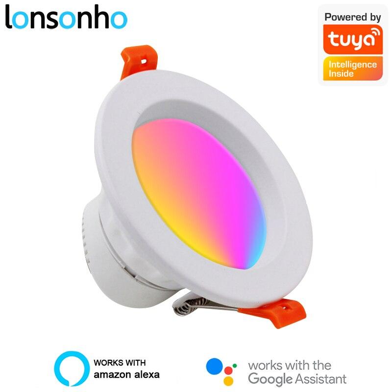 Lonsonho WiFi Led Downlight Tuya Smart Downlights 220V 6W 10W 12W RGB + W + C télécommande sans fil Compatible Alexa Google Home