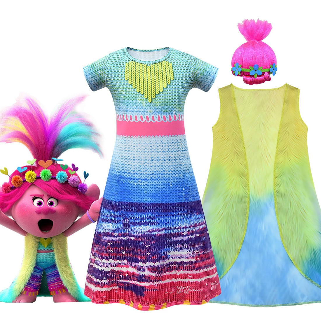 Disfraz de Trolls para niñas, disfraz de actuación de Halloween para niños, vestido, chaleco, juego de pelucas, Trolls para niños, Cosplay de Vocaloid para niñas