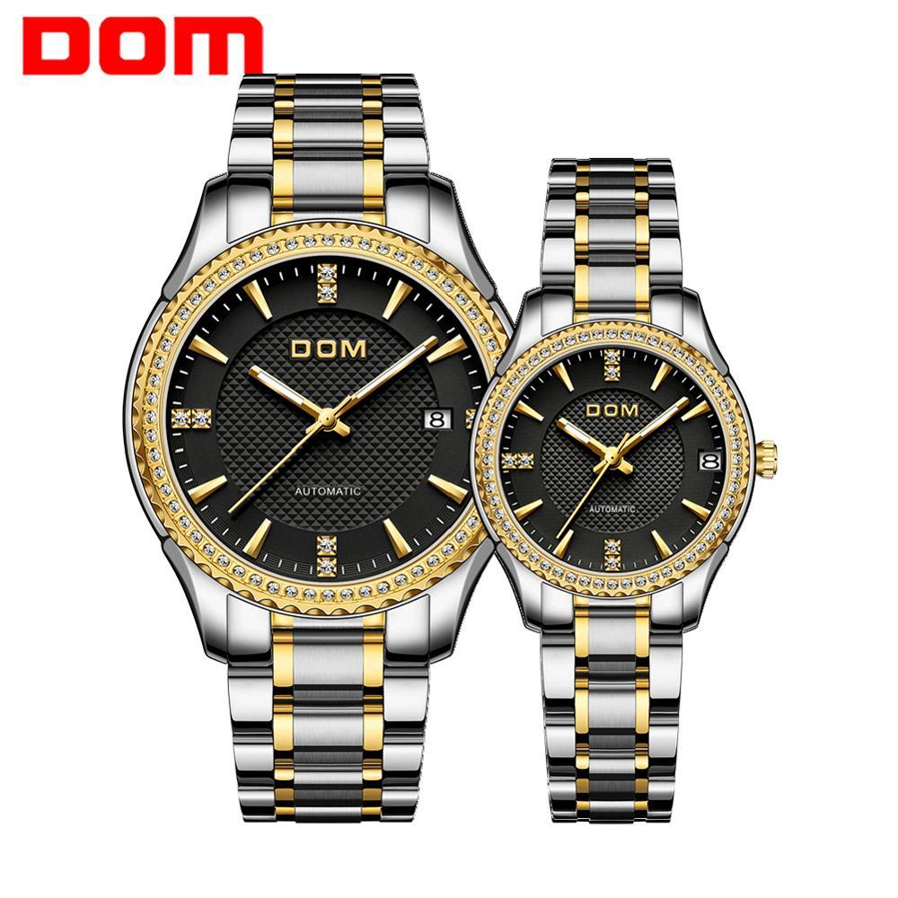 DOM Automatic mechanical watch women's watch men's watch waterproof   couple watch luminous sport business  stainless steel