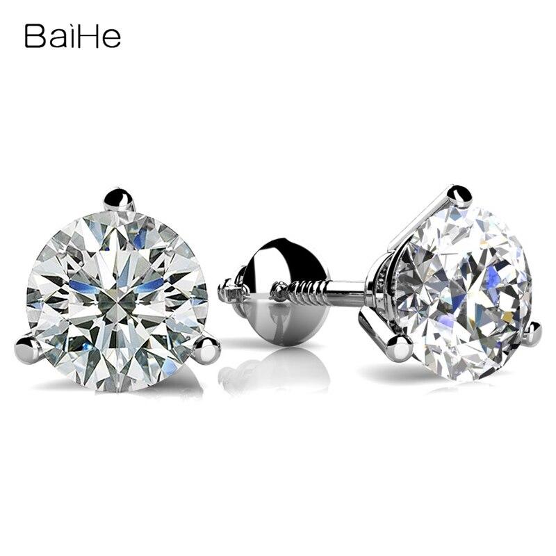 Baihe solid 18k branco/amarelo/ouro rosa 0.20ct/0.30ct/0.40ct redondos diamantes naturais brinco para jóias finas femininas joias feitas sob encomenda