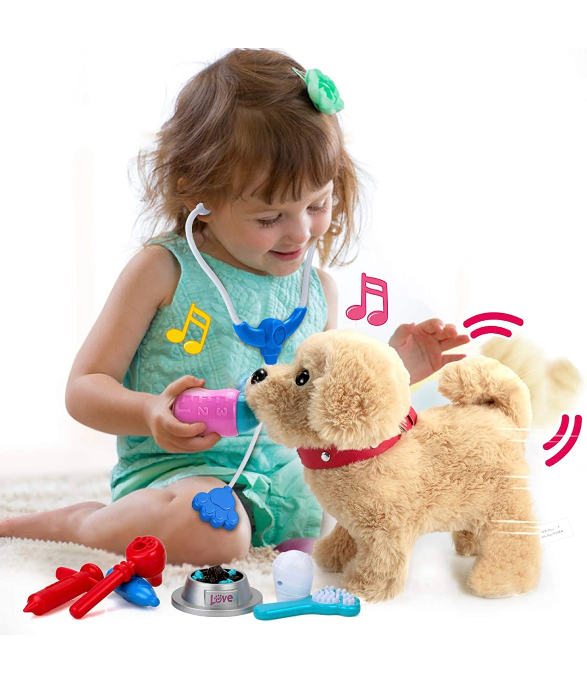 Electric stuffed toy cute little dog robot pet toys with traction rope for children singing walking animal plush toys enlarge