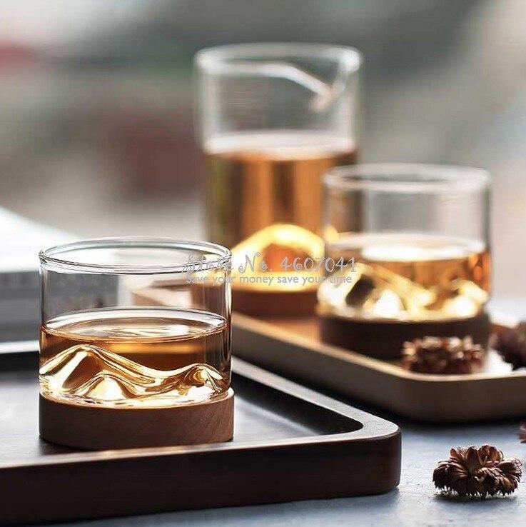 Copa de cristal transparente para whisky o Bar de montaña con base de madera para la cocina del hogar