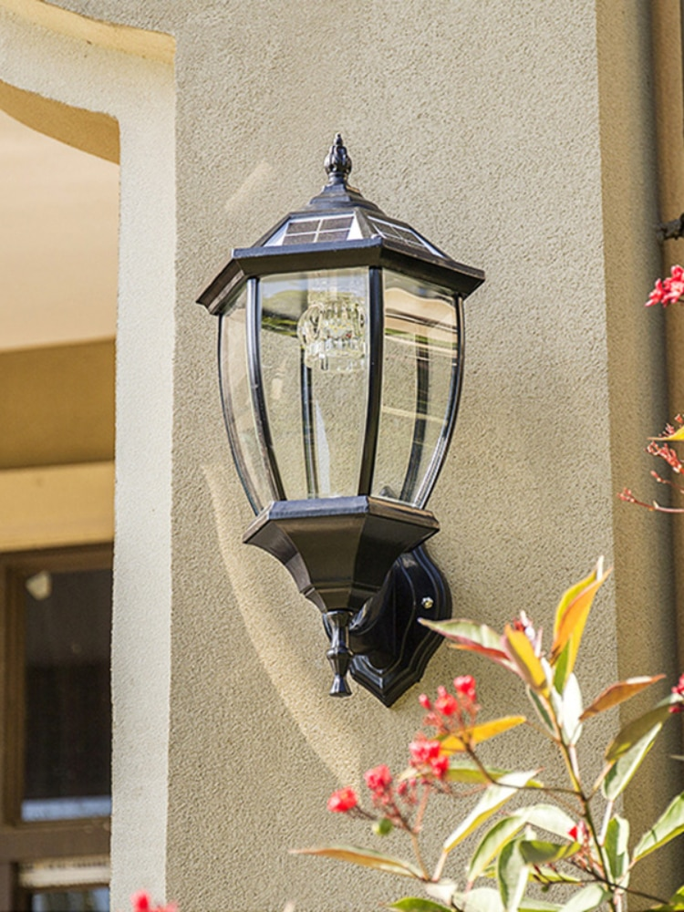 LED solar powered wall lanterns wall light lamp outdoor fence door solar lamps for the garden enlarge
