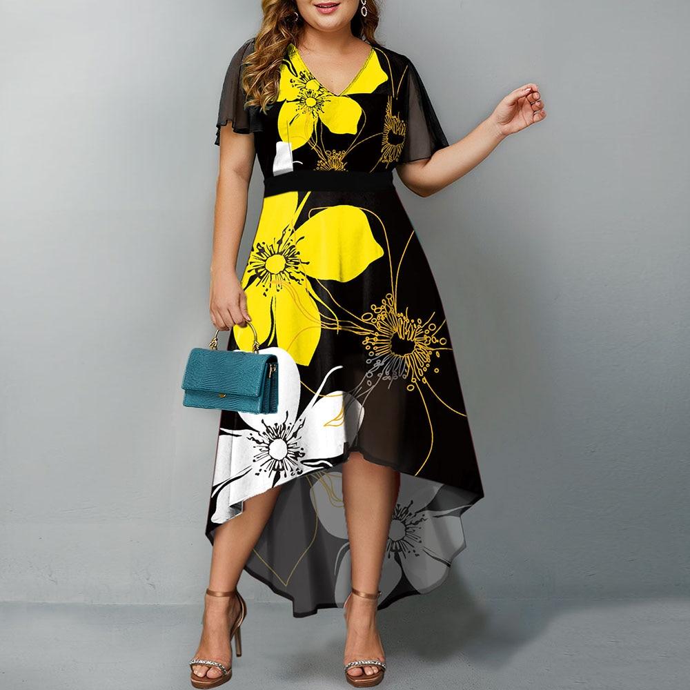 платье модель туника детское barkito желтые цветы желтое с белой отделкой Женское Повседневное платье, желтое длинное платье макси с коротким рукавом и цветочным принтом, модель 5XL, 2021