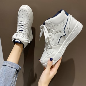 Ladies Casual Shoes High Top Breathable Comfortable Little white shoes Outdoor Hard-Wearing Board Shoes Non-slip Walking Shoes