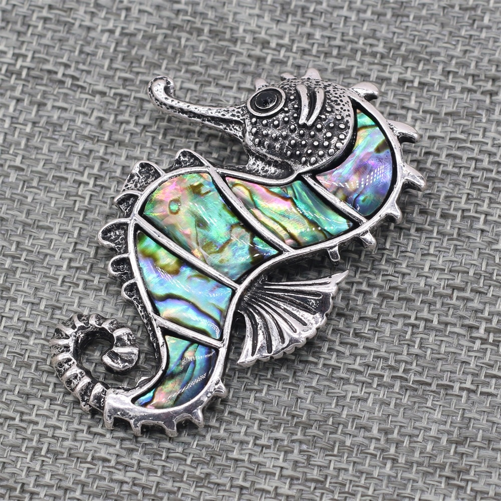 Vintage Natural Abalone Shell Brooches Exquisite Jewelry Hippocampus Pins Brooch for DIY Pendant Making Jewelry Findings 56x40mm  - buy with discount