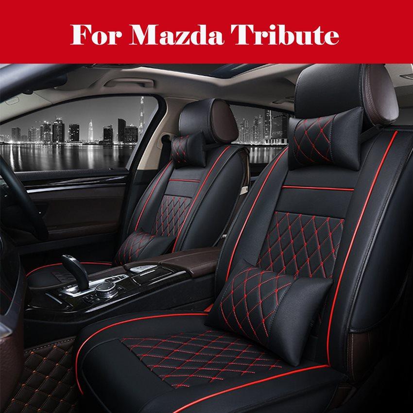Housse de siège en cuir PU noir   Accessoires de luxe pour lintérieur de la voiture, pour Mazda hommage