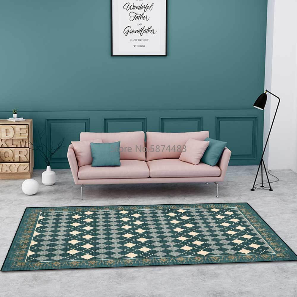 200*300 سنتيمتر الموضة الحديثة هندسية الماس شعرية خياطة الأخضر غرفة المعيشة غرفة نوم السرير سجادة أرضية التخصيص